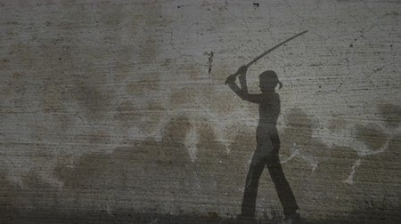 samuraj : Grunge Silhouette of Girl Practicing With Sword