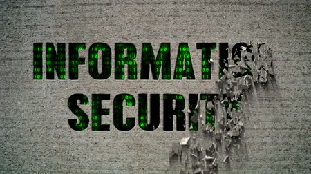 безопасность : Information Security Binary Code Crumbling Wall Стоковые видеозаписи