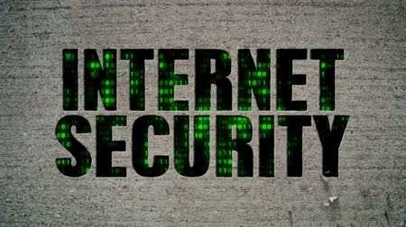 istatistik : Internet Security Binary Code Crumbling Wall Stok Video