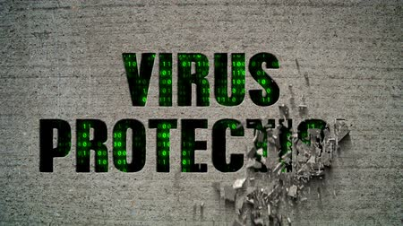 koruma : Virus Protection Crumbling Wall Stok Video