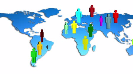 diferença : World Map Colorful Diverse People Growing Stock Footage