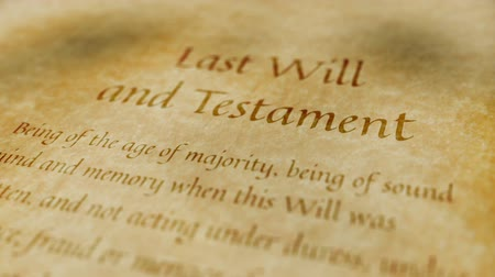 testament : Historische Documenten Last Will and Testament Stockvideo