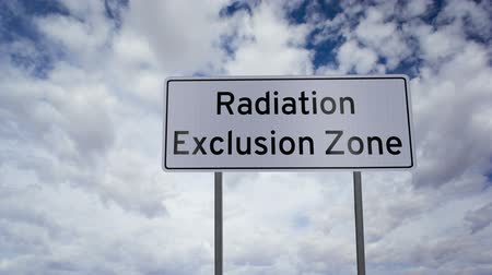 ionizing : Sign Radiation Exclusion Zone Timelapse Stock Footage