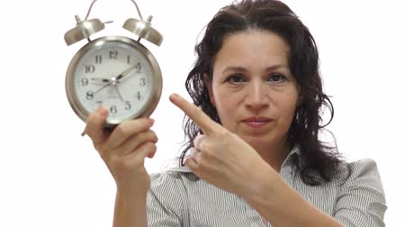 gestão : Mad Woman Manager With Time Clock Stock Footage