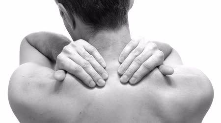 feszült : Male Rubs Neck To Relieve Pain Stock mozgókép