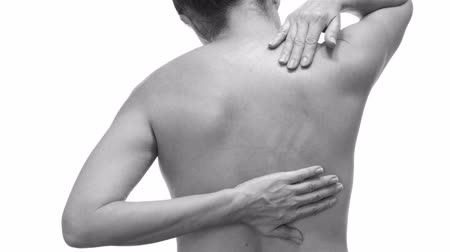 esneme : Female With Back Pain Black and White