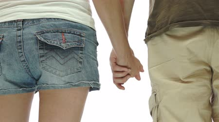 amor : Couple Holding Hands Isolated Stock Footage