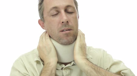 artrite : Male In Neck Support Brace With Pain