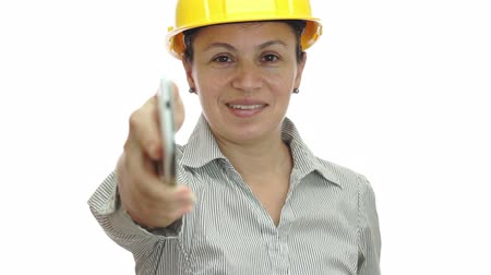 hívó : Woman Hardhat Phone For You Smile Stock mozgókép