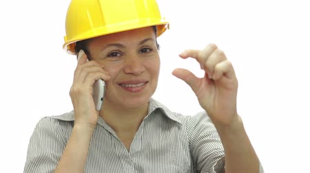 hívó : Woman Hardhat Phone Wait Little Bit