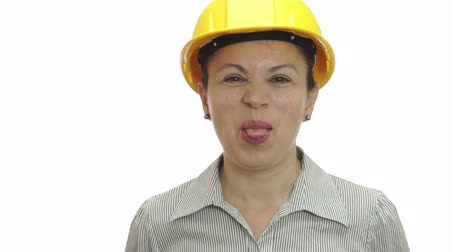 tongue out : Woman in Hardhat Sticks Out Tongue