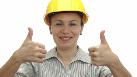 zawód : Woman Hardhat Gives Two Thumbs Up Wideo