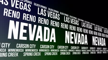 nevada : Nevada State and Major Cities Scrolling Banner Stock Footage