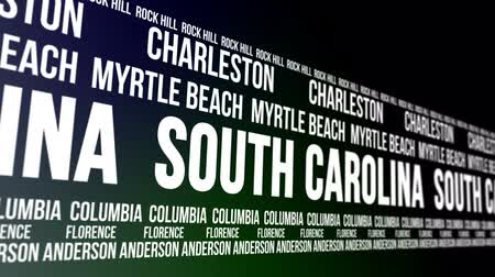 carolina : South Carolina State and Major Cities Scrolling Banner Stock Footage