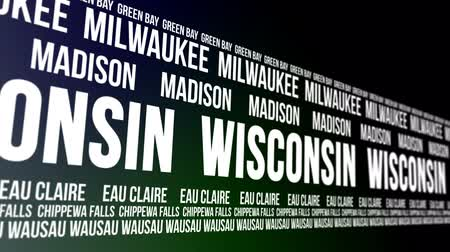 eau : Wisconsin State and Major Cities Scrolling Banner Stock Footage