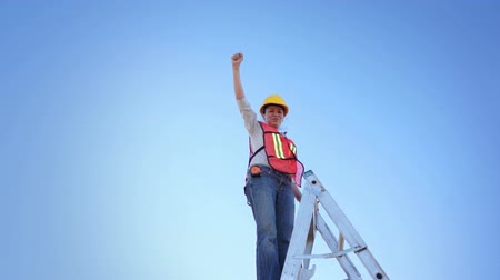 sampiyonlar : Woman Worker Climb Ladder Raised Hand Stok Video