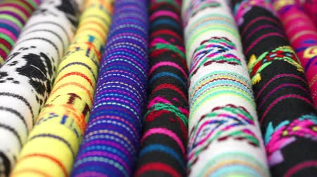 tradição : Dolly Across Traditional Mexican Fabrics Stock Footage