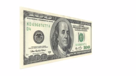 banknoty : One Hundred American Dollar Bill Rotating Wideo