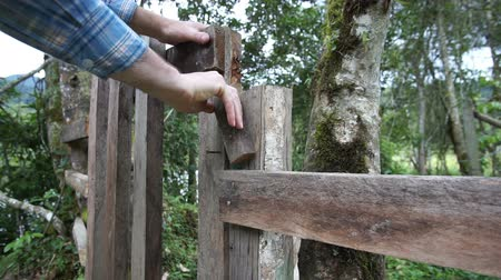 защелка : Man walking away from the viewer opening a rustic style gate in a fence along a trail in the wilderness among some trees.
