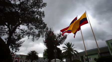 Эквадор : The flag of the province of Loja and the flag of the country of Ecuador flying in the wind on two separate flagpoles with a cloudy sky background.