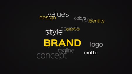 marca : Floating array or word cloud of brand related terminology words on a black background. Stock Footage
