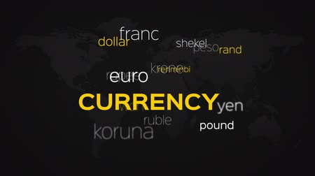 gotówka : Floating array or word cloud of currency related terminology words and names on a black world map background.