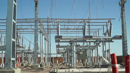 indústria : Static shot of an unfinished electrical substation under construction on the infrastructure grid used to generate, distribute and transmit electricity.