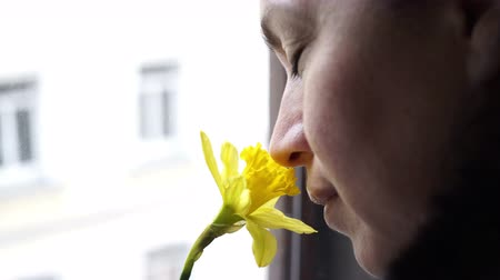 Handheld shot of a woman taking a time out and looking out a window while holding a daffodil flower to her nose and smelling it while thinking about something.