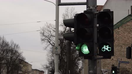 Traffic control lights with bicycle traffic lights sped up to show the transitions between the different phases telling the cars and bikes to stop or go. Stock Footage