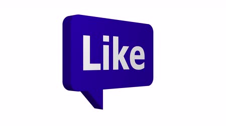 Animated speech bubble with the word like on it to show approval on social media networks rotating from a stop to a quick spin and back again.