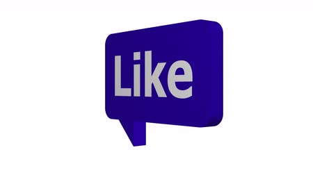 Animated speech bubble with the word like on it to show approval on social media networks rotating at a constant speed with an alpha channel or transparent background.