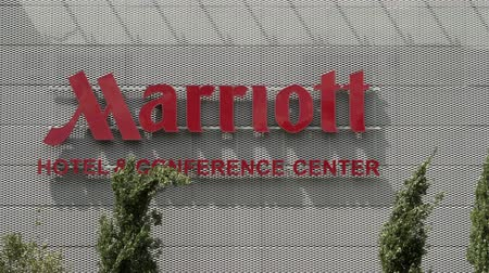 FRANKFURT, GERMANY - AUGUST 4, 2017: Marriot Hotel and Conference Center sign which is part of the American multinational hospitality company and brand Marriot International.