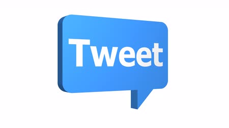 Animated 3D tweet speech bubble used in social media and networking popping up into the scene at three different angles with an alpha channel or transparent background.