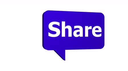 Animated 3D share speech bubble used in social media and networking rotating at a constant speed with an alpha channel or transparent background.