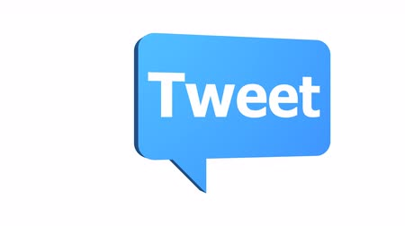 Animated 3D tweet speech bubble used in social media and networking rotating at a constant speed with an alpha channel or transparent background.