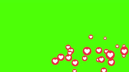 social love heart icon symbol animation across on green screen Stok Video