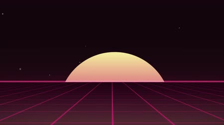 80s Retro futuristic background with glitch effect. Motion above light grid surface. Beautiful animation with neon lights. Synthwave and retrowave stylization. Stok Video