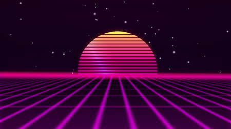 estilizado : Retro futuristic 80s VHS tape video game intro landscape. Flight over the neon grid with sunrise and stars. Arcade vintage stylized sci-fi