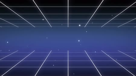 Retro 80s Background Animation Loops Featuring Blue Neon Grids and Lines Stok Video