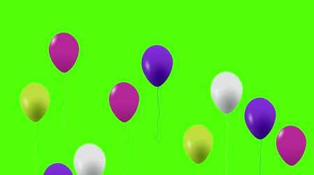 köşeler : Colorful balloons flying in the air. Flying balloons. Multicolored balloons. Balloons rising in the air. Helium balloon with rope. Chroma key. Green screen. Ultra HD - 4K