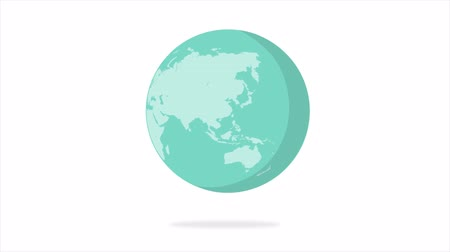 definíció : Flat design spinning Earth isolated on white. Animation of planet Earth. Flat design