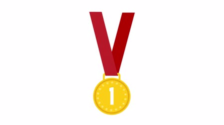 won : Champion Gold medal with ribbon on white background