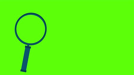 descoberta : Magnifying glass isolated on green screen. Chroma key green insert. Vídeos