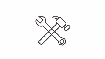 Hammer and wrench outline icon animation video. Hand drawn like symbol animated with motion graphic, can be used as loop item, has alpha channel and its at 4K video resolution.