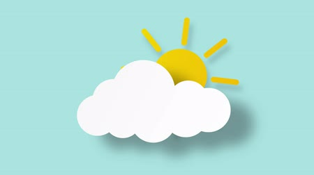 Cloud and sun icon on white screen, weather forecast, 4k Stok Video