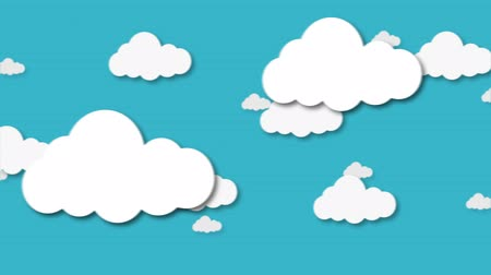 Blue sky full of clouds moving right to left. Cartoon sky animated background. Flat animation. Wideo