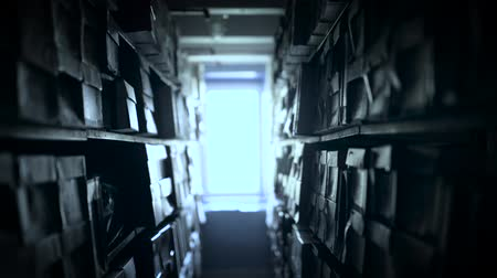 arquivos : Shelves of documents stored in archive