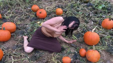 folt : Woman, dressed in earth tones, dancing among pumpkins on a working farm in Ellington, Connecticut in autumn. Stock mozgókép