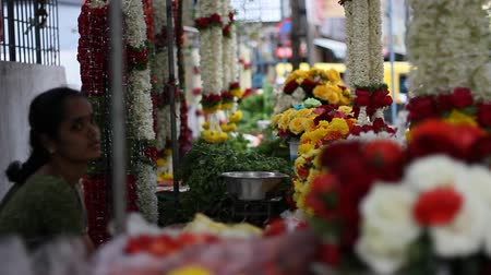bangalore : Woman selling flowers in Bangalore Stock Footage