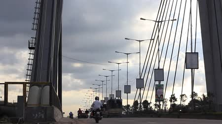 bangalore : A Hanging bridge seen on a cloudy evening in india, Bottom to top panning